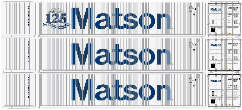 Athearn 17639  40' High-Cube Container, Matson  (3 Pack)