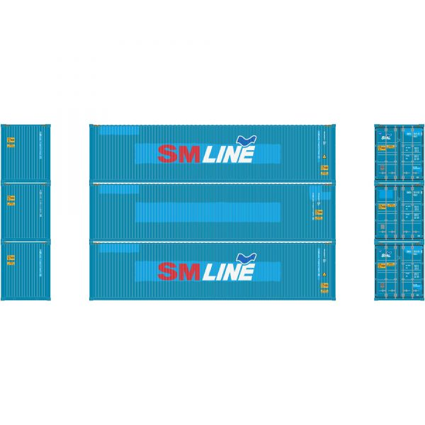 Athearn 17644  40' High-Cube Container, SM Line  (3 Pack)