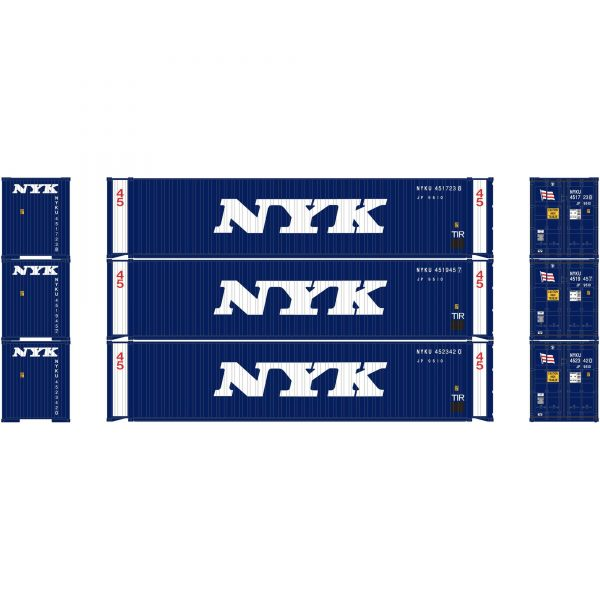 Athearn 27033  45' Container, NYK (3 Pack)
