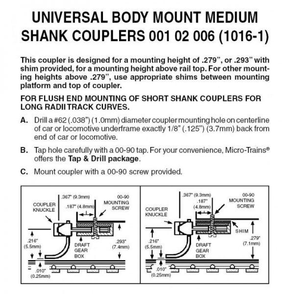 Micro Trains 00102006 (1016-1)   N Universal BMC Medium Shank Unassembled (2pr)