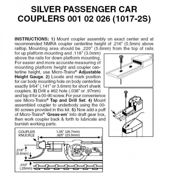 Micro Trains 00102026 (1017-2S)    Silver Passenger Car Couplers (2pr)