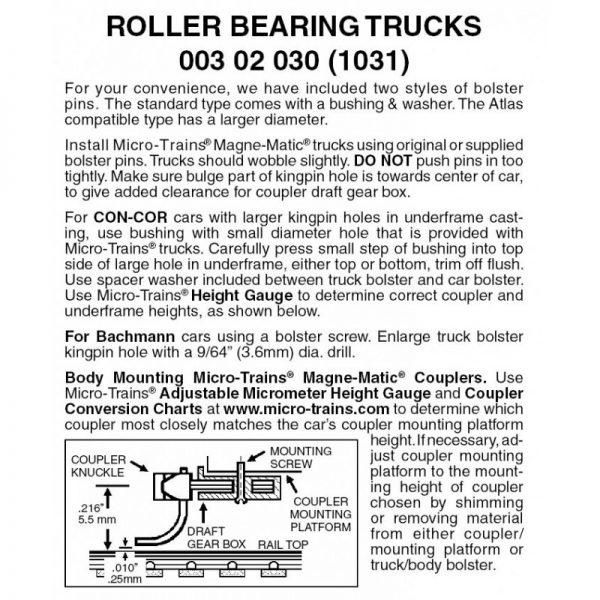 Micro Trains 00302030 (1031)   N Roller Bearing Trucks w/o couplers (1 pr)