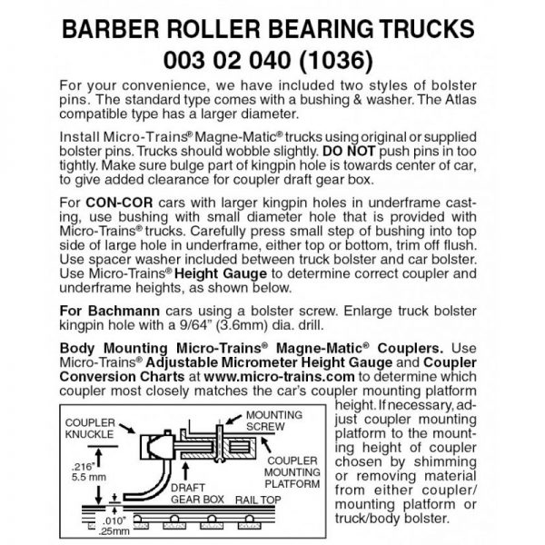 Micro Trains 00302040 (1036)   N Barber Roller Bearing w/o couplers (1 pr)