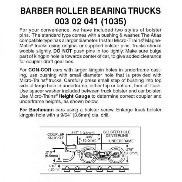 Micro Trains 00302041 (1035)   N Barber Roller Bearing Trucks w/ short ext. couplers (1 pr)