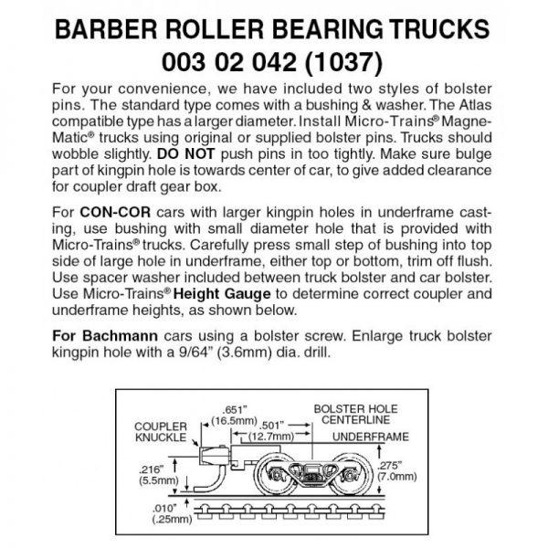 Micro Trains 00302042 (1037)   N Barber Roller Bearing Trucks w/ med. ext. couplers (1 pr)