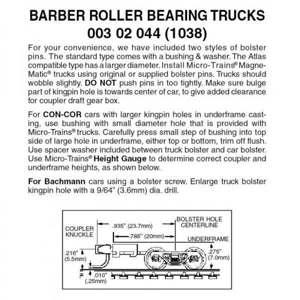 Micro Trains 00302044 (1038)   N Barber Roller Bearing Trucks w/ long ext. couplers (1 pr)