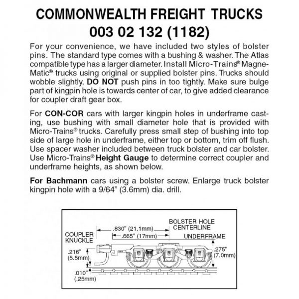 Micro Trains 00302132 (1182)   N 6-wheel Commonwealth Freight Trucks w/med. ext. couplers (1 Pr)