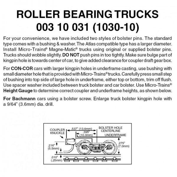 Micro Trains 00310031 (1030-10)   N Roller Bearing Trucks w/ short ext. couplers (10 pr)