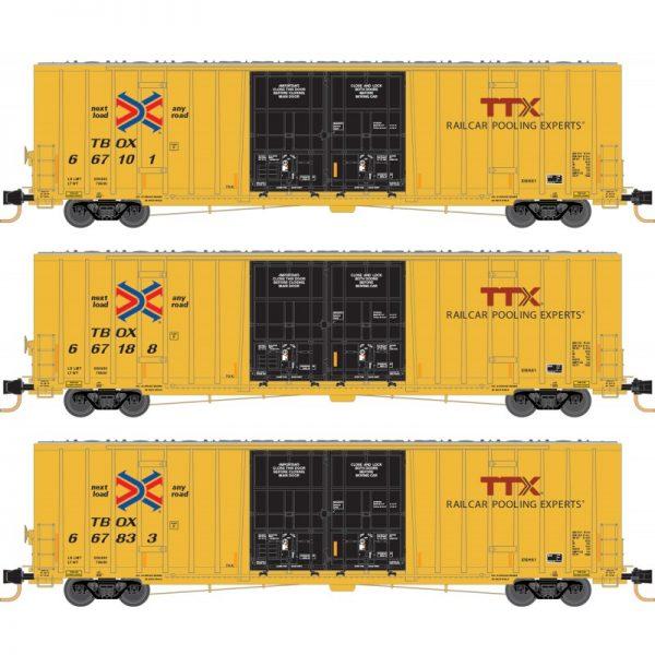 Micro Trains 99301850   60' Rib Side, Double Plug Door High-Cube, TTX