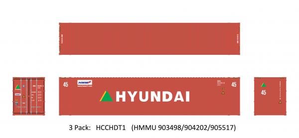Aurora Miniatures HCCHDT1  45' Hi-Cube Dry Container, Hyundai (3 Pack)