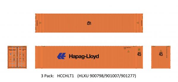 Aurora Miniatures HCCHLT1  45' Hi-Cube Dry Container, Hapag-Lloyd (3 Pack)
