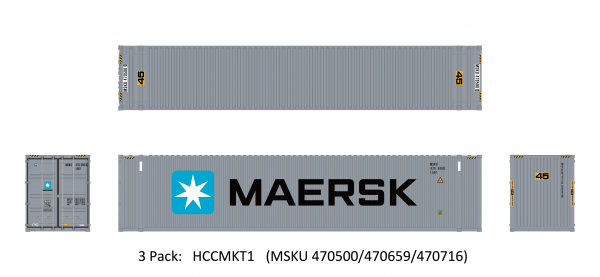 Aurora Miniatures HCCMKT1  45? Hi-Cube Dry Container, Maersk Small Logo (3 Pack)