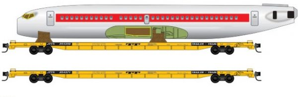 Micro Trains 99300173   2-Pk Flat car w/fuselage, TTX
