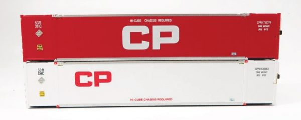 Rapido Trains 402009  53' high-cube Container, CP - Red/White (2-pack)