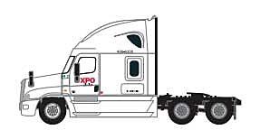 Trainworx 42591-03  Freightliner Cascadia Raised-Roof 3-Axle Semi Tractor, XPO Logistics
